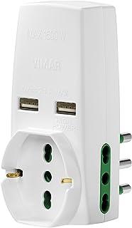Vimar 0P00333.B Adattatore Universale, S17, 2P17/11, Due USB, Bianco