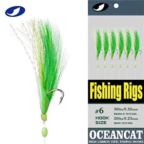 OCEAN CAT Fishing Rigs Saltwater Bait, Feather & Fish Skin 6 String Hooks Fishing Lure Tackle,Red/Green 10 Packs (Green, 4#)