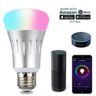 Smart Light Bulbs - Lampwin Multi Color Changing Wireless Dimmable Wifi LED Smart Bulb, Smartphone Control E27 LED Bulb Works with Alexa Amazon for iOS Android, App Voice Control, Home Automation