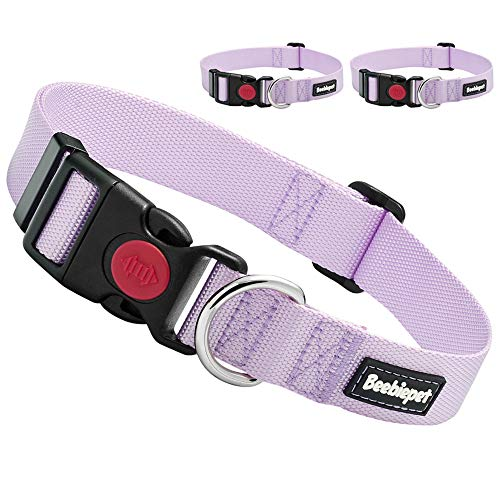 Beebiepet Classic Dog Collar with Quick Release Buckle Adjustable Dog Collars for Small Medium Large Dogs (XS Neck 7.5'-10', Lavender)