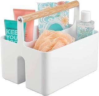 mDesign panier de rangement pour salle de bain – boite plastique avec poignée pour rangement maquillage – caisse de rangem...