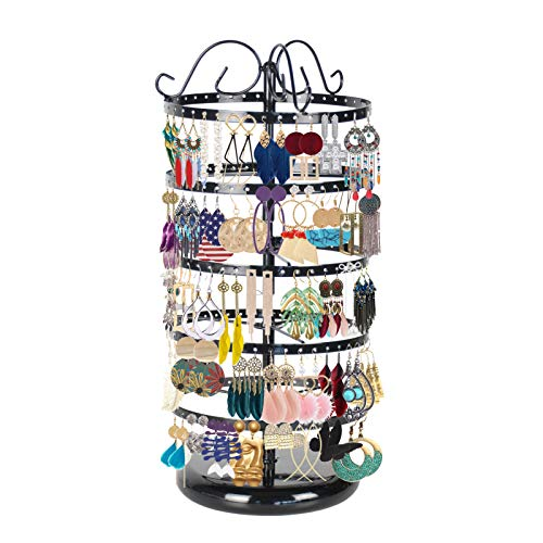 KAIMAIC 5 Tiers Jewelry Organizer Hanger Stand, 110 Pairs Earring Holder Rack 220 Holes Necklace Metal Stand Display Hanging Towers - Rotatable & Adjustable (Black)