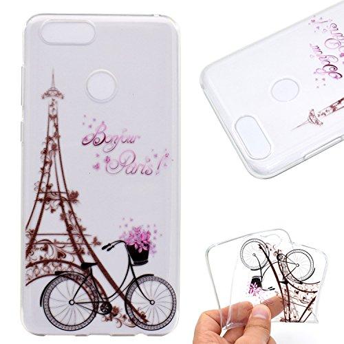 YYhin Custodia per Cover Huawei P9 Lite Mini/Enjoy 7/Y6 PRO 2017, Copertura Protettiva Trasparente, Custodia Antiurto Paraurti Silicone TPU Case Cover #MM07/Bicicletta a Torre