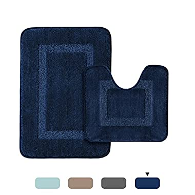 H.VERSAILTEX Upgraded 100% Microfiber Tufted Thick Super Soft Absorbent Tufted Bath Mats for Bathroom Anti Skid Bath Rugs Set, 2 Pack (20 x 32  and 20  x 18  U Shape, Navy Rugs)