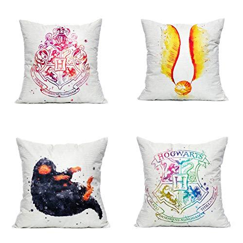 Lufria Set di 4 Fodere per Cuscini Decorativi di Harry Potter Fodere per Cuscini Fodere per Divano Federa per Cuscino 45x45 cm