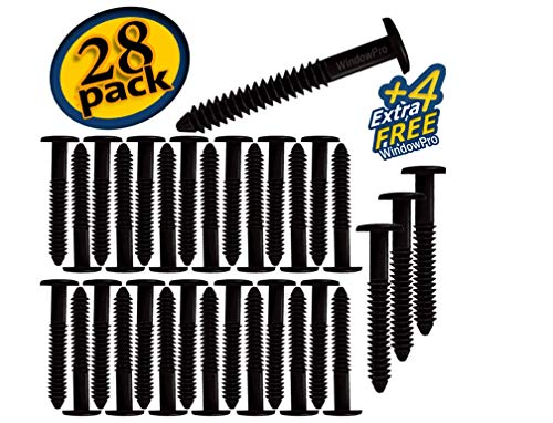 Window Shutters Panel Peg Lok Pin Screws Spikes 3 inch 32 Pack Fasteners (Black) Exterior Vinyl Shutter Hardware