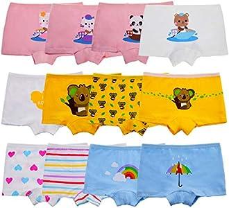 Anntry Niños Paquete de 12 Calzoncillos Suaves y cómodos Algodón Ropa Interior Niñas Surtidas Boyshort Bragas 2-10 años (M(4-6) Años, Color-2)