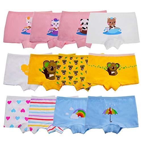Anntry Baby-Unterwäschen Baumwollene Boyshort Höschen für Kleine Mädchen Unterhosen (Packung mit 12 Stücken) (8-10 Years, Farben-12)