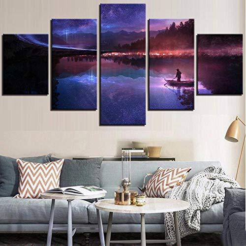 Affiche Toile Peinture HD Mur Art Photos 5 Pièces Rivière comme Miroir/Homme avec Bateau sous Les Étoiles Impression Moderne Décor À La Maison Taille 2 avec Cadre
