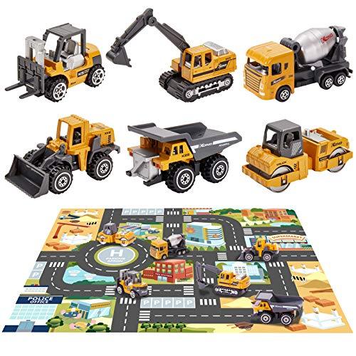 HERSITY Jouet Tracteur Tractopelle Benne en Métal avec Tapis Engins de Chantier Voiture Jouet Miniature Cadeau Enfant Garçon Fille 3 Ans+