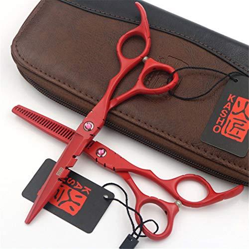 ZZBB Professional 6.0 Pulgadas del Corte del Pelo Tijeras Set Red Hair Peluquería Tijeras Set Japan Steel Exquisito de Sharp Plano de cizalla del Diente Tijeras Adelgazamiento/texturización