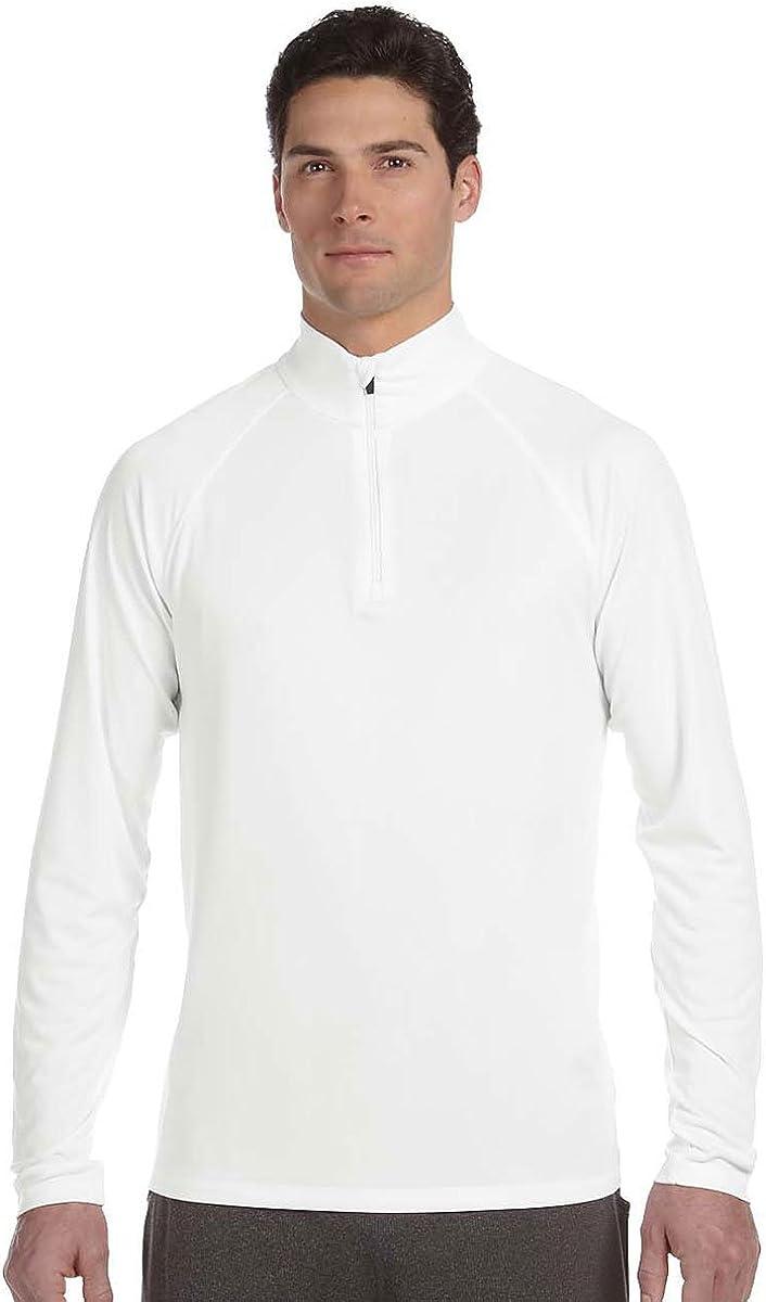 Alo Sport Men's Poly Quarter-Zip Lightweight Pullover, WHITE, XXX-Large