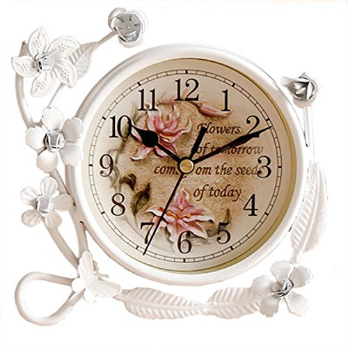 S.W.H White Flower Rustic Iron Mantel Table Clock Living Room Bedroom Quiet Table Clock Home Decor