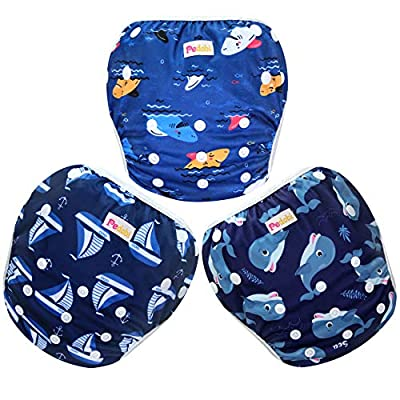 Pedobi Reusable Baby Swim Diapers, Adjustable Diaper Swim for Toddlers 9 Months - 3 Years Old, 3 Pack for Swimming Lessons (Whale Shark Sailboat, Large)