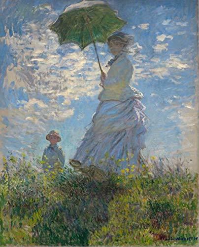 Claude Monets Frau und Sonnenschirm Wandkunst Leinwand Gemälde reproduziert impressionistische berühmte Leinwand Kunstdrucke Familie rahmenloser dekorativer Film A97 40x60cm