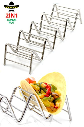 ELLTERA Metal Taco Holder Stand 2 PACK - BONUS NON-SLIP MAT - Premium Stainless Steel 5 Pockets Taco Rack - Oven - Grill - Dishwasher for all types Soft/Hard Taco Holders - BONUS Recipe e-Book
