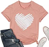 Cute Love Heart Graphic Shirts Women Funny Valentine's Day T Shirt Casual Short Sleeve Tee Tops for Lover Pink