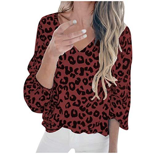 ReooLy - Camiseta de Manga Larga con Cuello en V y Estampado de Leopardo para Mujer(Vino,XL)