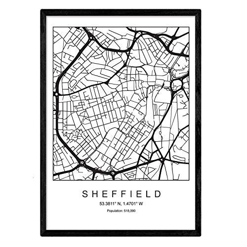 Sheffield stadskaart Scandinavische stijl zwart en wit. Posterframe op A3-formaat Het bedrukte papier Geen 250 gr. Schilderijen, prints en posters voor woonkamer en slaapkamer