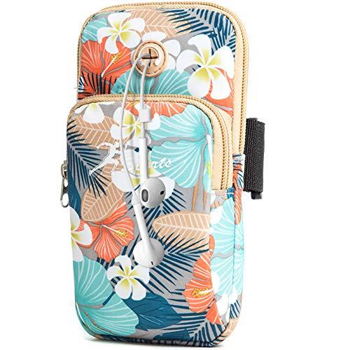 WATACHE Bolsa Brazo Deportivo, Bounce Universal Gimnasio brazaletes Soporte teléfono Funda con Orificio Auriculares para iPhone XS MAX/X/X 8, Galaxy S10 Plus/S10/ Note 9/S9/S8/S7/, Huawei LG (Flor#6)