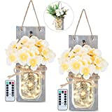 GLAMOURIC 2 Pack Mason Jar Sconces with 20 LEDs Fairy String Lights, Wrought Iron Hooks, 8 Keys Remote Controler, 14 Levels Brightness, Hydrangea&Peony Flowers with LED Design for Home Decoration