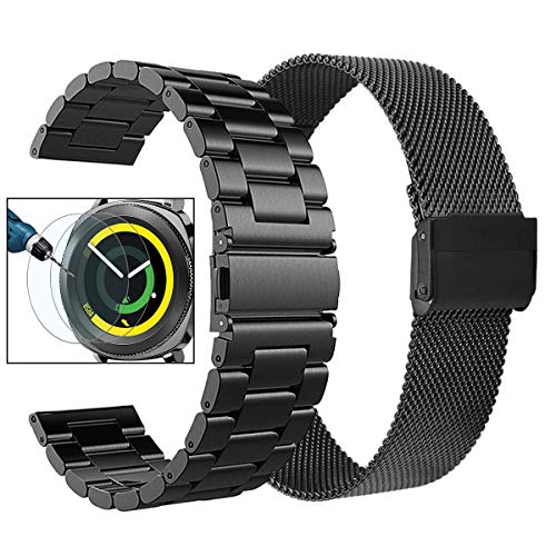 Valkit Compatible Galaxy Watch 42mm/Gear Sport/S2 Classic Bands, 20mm Stainless Steel Solid Metal Strap Wrist Bands for Gear Sport/Galaxy Watch 3 41mm/Galaxy Watch 42mm/Active/Active 2, Black