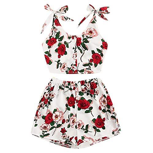 TUDUZ Shorts und Top Sets Damen Sommer Strand Zweiteiler Schulterfrei Sunflower Printed Beachwear Chiffon Boho Ärmellos Crop Tops (Rot, M)