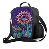 Trippy Alien Sunflowers Lunch Bag with Detachable Shoulder Strap Leak-proof Lunch Box for Office School Picnic Beach