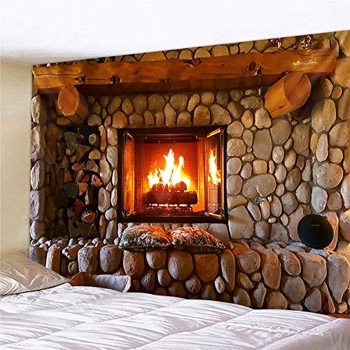 Naturer Fantasy Wandteppich Psychedelic 180x230 Vintage Kamin Wandbehang Feuer Stein Tapisserie Tapestry Wandtuch für Schlafzimmer Wohnzimmer