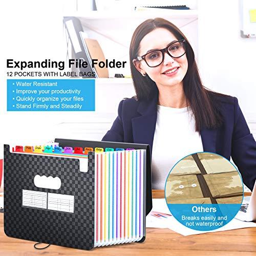 Accordian File Organizer 12 Pockets - Expanding File Folder Expandable Cover,Portable Filing Box,Desktop Accordion Folders,Plastic Colored Paper Document Paperwork Receipt Organizer(A4/Letter Size) Photo #5