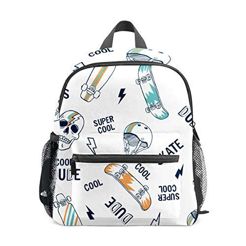 Preshool Backpacks Cool Skul Skateboard Lightning Pattern Toddler Mini School Bag Children Daypacks for Boys Girls