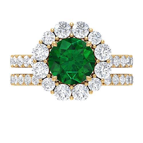 Anillo de racimo, juego de anillos nupciales esmeralda, piedra preciosa redonda de 4,21 quilates, anillo de solitario D-VSSI Moissanite 8 mm, 10K Oro amarillo, Size:EU 45