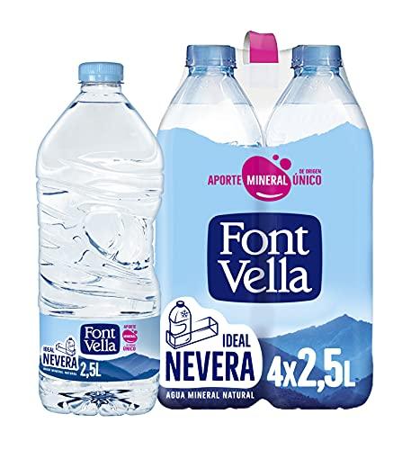 Font Vella Agua Mineral Natural, Tamaño Nevera, 4 x 2.5L