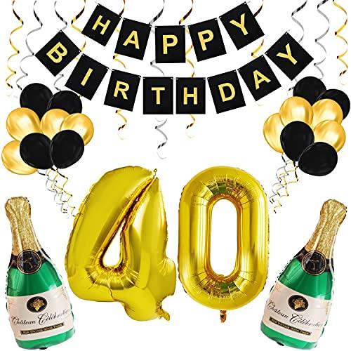 BELLE VOUS Decoration Anniversaire 40 Ans – Ballon 40 Ans Aluminium - Bannière Happy Birthday Noir & Or Réutilisable - Ballons en Latex & Bouteilles de Champagne Gonflables - Deco Anniversaire