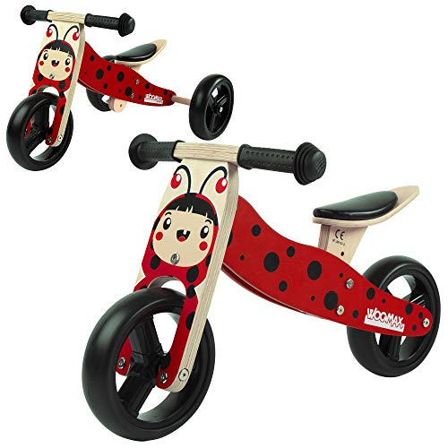 WOOMAX - Bicicleta sin pedales, Triciclo evolutivo, Bici sin pedales Madera, Triciclo bebé 1 año, Bici 2 en 1 madera, Triciclo convertible, Moto correpasillos, Triciclos bebés (85376)