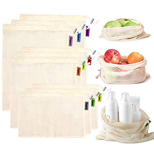 Reusable Produce Bags, Sungwoo Organic Cotton Mesh Produce Bags for Grocery Shopping and Storage with Tare Weight on Tags, Double-Stitched Seams, Machine Washable, Eco-Friendly, Set of 9