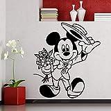 Tianpengyuanshuai Etiqueta de la Pared del ratón Dormitorio de los niños calcomanía de Vinilo de Dibujos Animados decoración de la habitación del hogar Mural de Flores Lindas 85X94 cm
