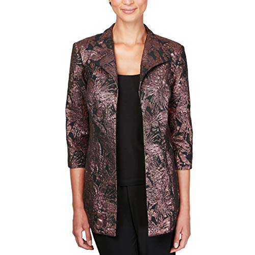 Alex Evenings Women's Plus Size Printed Twinset Tank top and Jacket, Black/Bronze, 1X