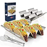 Taco Holders Stainless Steel Set of 4, Oven&Grill&Dishwasher Safe, Taco Accessories for Taco Tuesday Party, Easy-To-Hold Handle, Smooth Edge for Safe Use