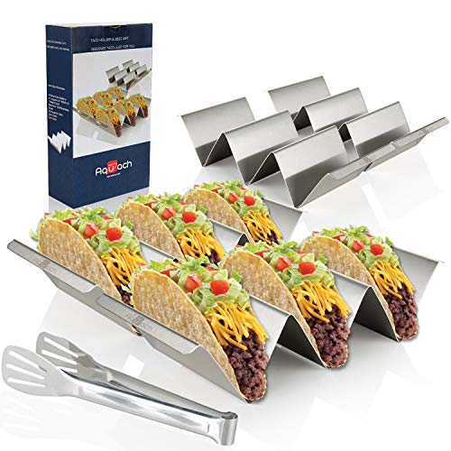 Taco Holders Stainless Steel Set of 4 OvenampGrillampDishwasher Safe Taco Accessories for Taco Tuesday Party EasyToHold Handle Smooth Edge for Safe Use