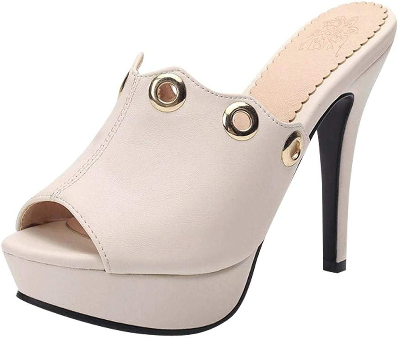 Vitalo Women's High Heel Platform Mules Slip On Peep Toe Ladies Sandals Slippers