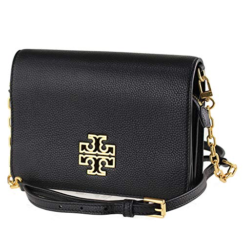 Tory Burch Womens 60405 Britten Combo Crossbody Bag, Black/Rolled Gold