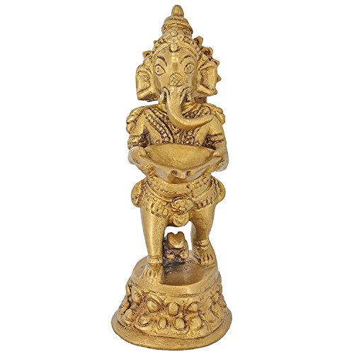 ShalinIndia Seigneur Ganesh tenant une Diya, Doré, Taille : 2,25 X 2 x 5
