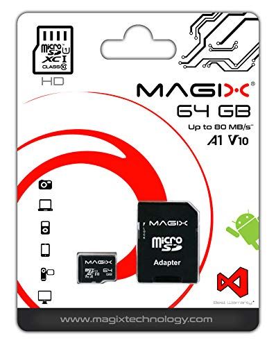 Magix Micro SD Card HD Series Class10 V10 + SD Adapter Up To 80Mb/S (64Gb)