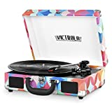 Victrola Vintage 3-Speed Bluetooth Portable Suitcase Record Player with Built-in Speakers | Upgraded Turntable Audio Sound| Includes Extra Stylus | Geo Print