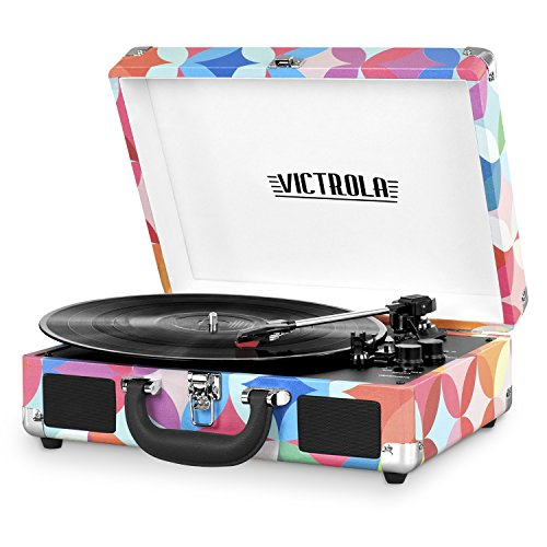 Victrola Vintage 3-Speed Bluetooth Portable Suitcase Record Player with Built-in Speakers | Upgraded Turntable Audio Sound| Includes Extra Stylus | Geo (VSC-550BT-P3)