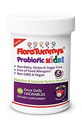 FloraTummys Kids Chewable Probiotic: Non-Dairy, Gluten & Sugar-Free, Peanut & Soy Free, Tested & Free of Food Allergens, Natural Cherry Flavor