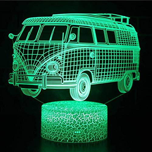 JYHW Bus 3D Lamp Shades voor Table White Base Lovely 7 Color Change 3D Lighting White Dressing tafellampen