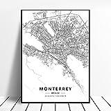 zhuifengshaonian Monterrey Reynosa Mexicali Lopez Mateos Puebla City Zapopan Mexico Map Poster (ZW-143) Sin Marco Poster 40x60cm