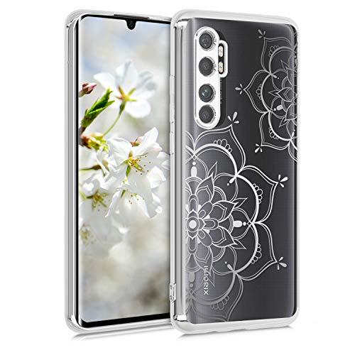 kwmobile Hülle kompatibel mit Xiaomi Mi Note 10 Lite - Hülle Handy - Handyhülle Blumen Zwillinge Silber Silber Transparent